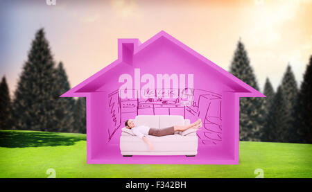 Composite image of well dressed young woman sleeping on sofa - Stock Photo