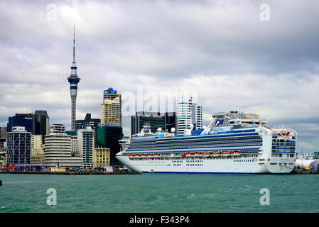 Cruise Ship in Auckland Harbour New Zealand NZ - Stock Photo