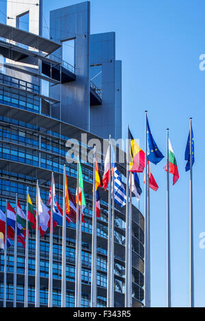 Flags of countries in Europe in front of the European Parliament / EP at Strasbourg, France - Stock Photo