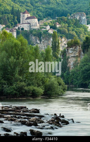 the River Lot at St Cirque Lapopie, Quercy, France - Stock Photo