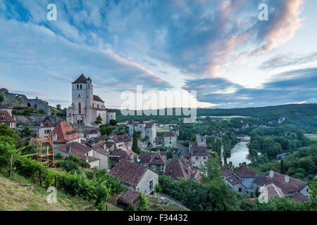 St Cirque Lapopie at dawn, Lot Valley, Quercy, France - Stock Photo