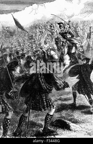 The Battle of Culloden, the final confrontation of the 1745 Jacobite Rising. On 16 April 1746, the Jacobite forces - Stock Photo
