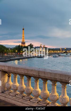 the Eiffel Tower & River Seine, Paris, France - Stock Photo