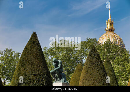 Rodin's 'The Thinker' in the gardens of the Musee Rodin, Paris, France - Stock Photo