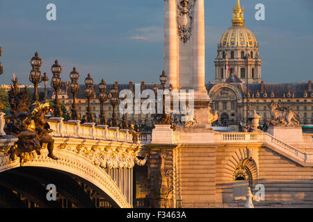 Pont Alexandre III, looking toward Les Invalides over the River Seine, Paris, France - Stock Photo