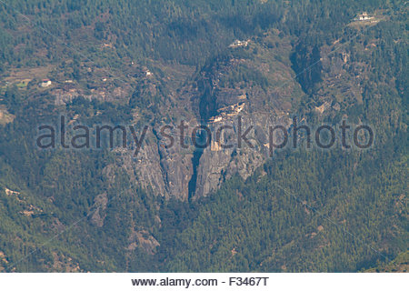 A distant view of Paro Taktsang (Tiger's Nest) in Part, Bhutan - Stock Photo