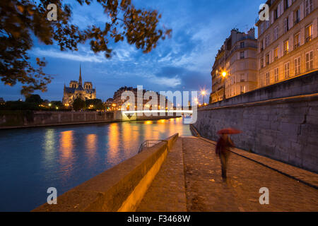 Notre-Dame Cathedral and the Île de la Cité from Ile St Louis at night, Paris, France - Stock Photo