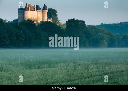 Chateau de Bayac at dawn, Pays de Bergerac, Périgord, Dordogne, Aquitaine, France - Stock Photo