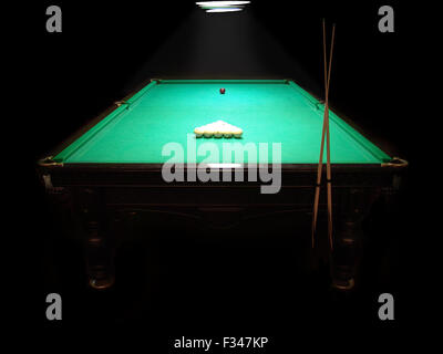 The russian billiard table with a cue and balls on a dark background - Stock Photo
