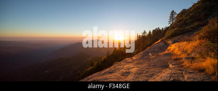 sunset over the Sierra Nevada from Hanging Rock, Sequoia National Park, California, USA