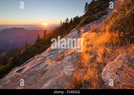 sunset over the Sierra Nevada from Hanging Rock, Sequoia National Park, California, USA - Stock Photo