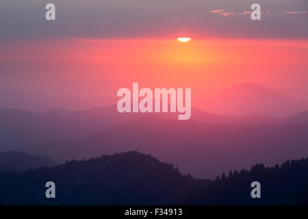 sunset over the Sierra Nevada from Moro Rock, Sequoia National Park, California, USA - Stock Photo