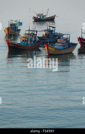 boats anchored off Mũi Né fishing village, Bình Thuận Province, Vietnam - Stock Photo