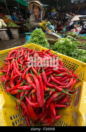 chillies in Dong Ba Market, Hue, Vietnam - Stock Photo