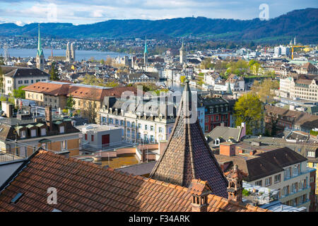 View over Zurich at the morning with the lake in the back - Stock Photo