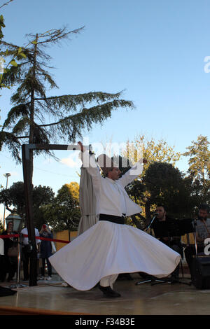 Istanbul, Turkey - September 17, 2015: The dance Whirling Dervishes is called Sema - Stock Photo