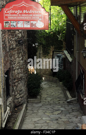 Istanbul, Turkey - September 18, 2015: Gate of Turkish Handicraft Center in Istanbul - Stock Photo