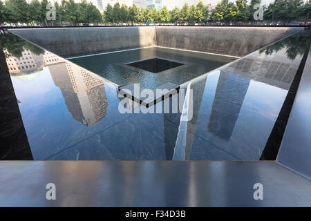 Trade world center today: The memorial 9.11 in Financial district, Manhattan - Stock Photo