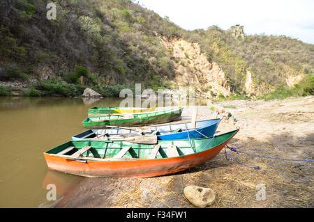 Coroful boats in Somoto Canyons, Nicaragua - Stock Photo