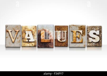 The word 'VALUES' written in rusty metal letterpress type isolated on a white background. - Stock Photo