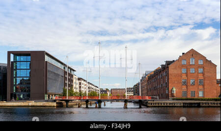 The Circle Bridge spanning Christianshavn Canal, Copenhagen, Denmark - Stock Photo