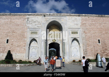 Istanbul, Turkey - September 18, 2015: Tourists visiting Topkapi Palace in Istanbul, Turkey. - Stock Photo