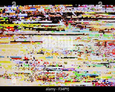 Severely pixelated tv screen.