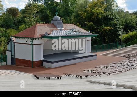 The refurbished Kelvingrove Park listed bandstand and amphitheatre, Glasgow, Scotland, UK - Stock Photo