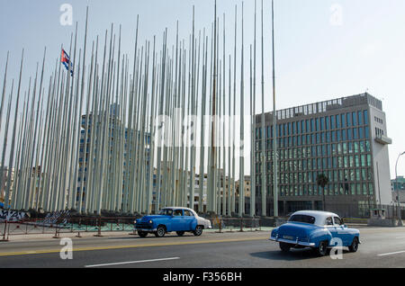 The former U.S. embassy building along Havana?s Malecón waterfront, Cuba. - Stock Photo