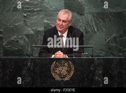 New York, NY, USA 29th Sep, 2015. Czech President Milos Zeman addresses the 70th session of the United Nations General - Stock Photo