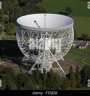 aerial view of Jodrell Bank radio telescope, Cheshire, UK - Stock Photo