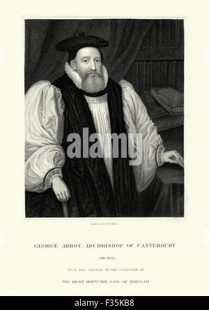 Portrait of George Abbot an English divine who was Archbishop of Canterbury from 1611 to 1633. - Stock Photo