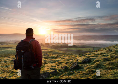 Teesdale, County Durham. Wednesday 30th September 2015, UK Weather. It was another cool and misty start to the day - Stock Photo