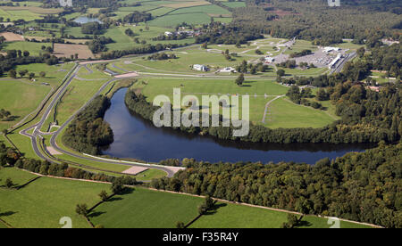 aerial view of Oulton Park motor racing circuit in Cheshire, UK - Stock Photo