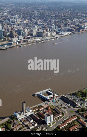aerial view of The Mersey Ferry operating between Liverpool and Birkenhead, UK - Stock Photo