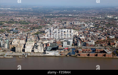 aerial view of the Liverpool city skyline, UK - Stock Photo