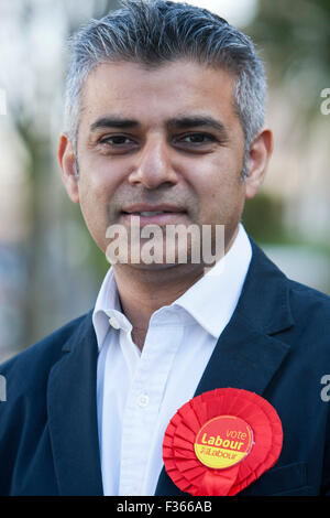Sadiq Khan MP poses for a picture in a residential street in Tooting, South London, on April 21, 2010. - Stock Photo