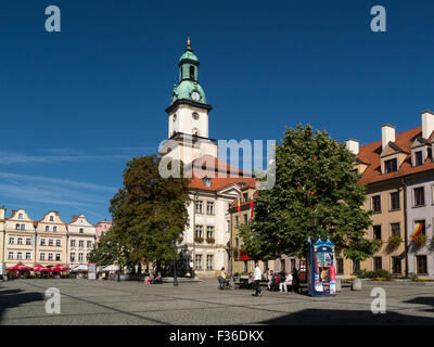 Gothic buildings and Burghers houses in Town Hall Square Jelenia Gora Poland on a lovely autumn September day weather - Stock Photo