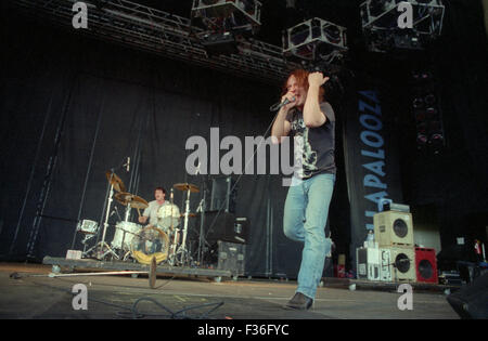 David Yow, of the Jesus Lizard, performs during the 1995 Lollapalooza concert at Deer Creek Music Center in Noblesville, - Stock Photo
