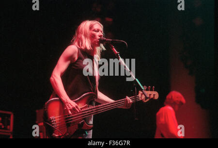 Kim Gordon, of Sonic Youth, performs during the 1995 Lollapalooza concert at Deer Creek Music Center in Noblesville, - Stock Photo