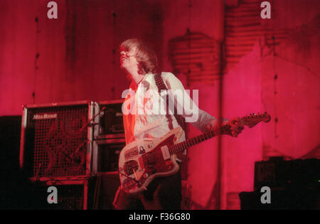 Thurston Moore of Sonic Youth performs during the 1995 Lollapalooza concert at Deer Creek Music Center in Noblesville, - Stock Photo