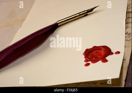 Wax stamp on blank paper - Stock Photo