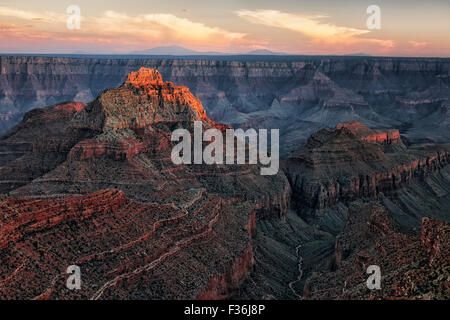 Last light on Vishnu Temple and the North Rim of Arizona's Grand Canyon National Park from Cape Royal. - Stock Photo