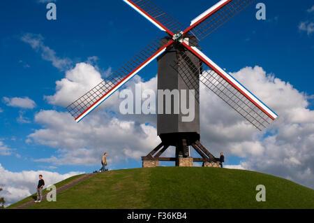 Bruges, The wooden windmill Sint-Janshuismolen in Bruges, Belgium. ST JANSHUIS & KOELEWEI MILLS :The St. John's - Stock Photo