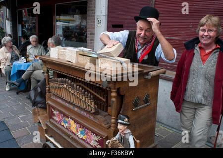 Barrel organ (or a roller organ) in historic Bruges (Brugge), West Flanders, Belgium. Slain by medieval charm. Steve - Stock Photo