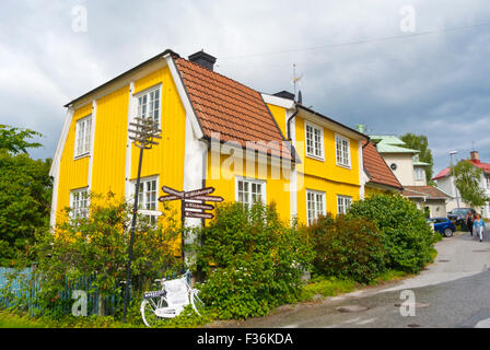Residential wooden houses, Vaxholm, near Stockholm, Sweden - Stock Photo