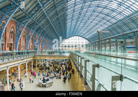 interior of St Pancras international railway station London England UK GB EU Europe - Stock Photo