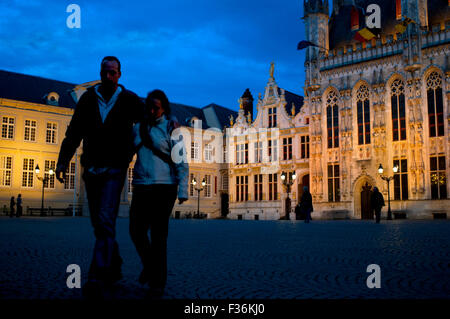 BRUGES : The Town Hall and the Burg Square. Bruges is a city with two town squares. The largest one is the Market, - Stock Photo