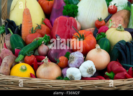 Vegetable basket display at the Malvern Autumn Show, Worcestershire, UK - Stock Photo