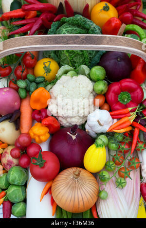 Vegetable trug displays at the Malvern Autumn Show, Worcestershire, UK - Stock Photo